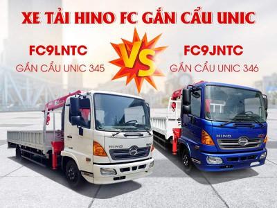So Sánh Xe Tải Hino FC9JNTC Và FC9JLTC Gắn Cẩu Unic