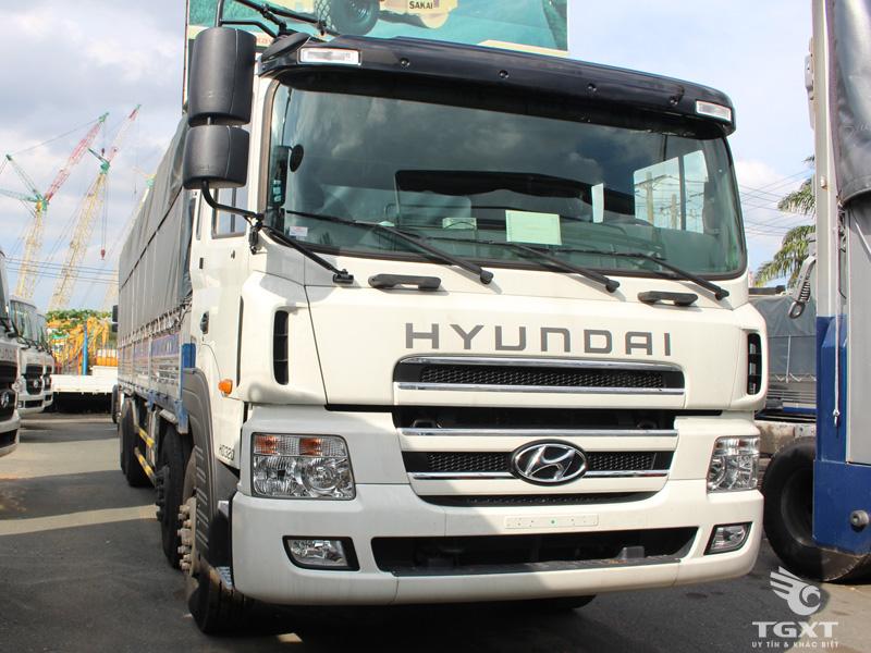 Xe Tải Hyundai 5 Chân 14 Tấn Gắn Cẩu Kanglim 12 Tấn 5 Khúc